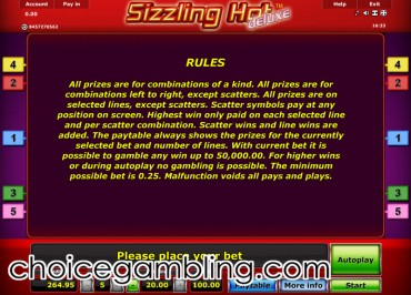 sizzling hot deluxe star games
